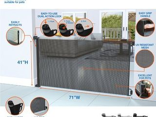 Perma Extra Tall   Extra Wide Outdoor Retractable Gate  Up to 71 in  W  Black