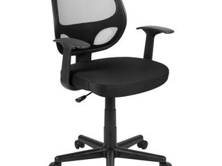 Flash Fundamentals Mid Back Black Mesh Swivel Ergonomic Task Office Chair with Arms  BIFMA Certified