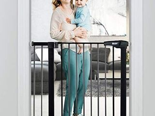 RONBEI Baby Gate for Stairs and Doorways  35     37 8     29 53     32 28   Auto Close Indoor Safety Gates for Kids   Dogs  Easy Walk Thru Metal Child Gate with 5 5   Extension  4 Mounting Kit