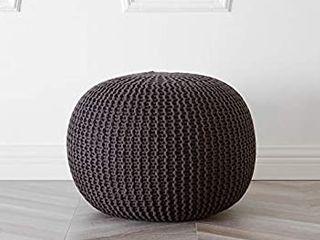 Urban Shop Round Knit Pouf   Hand Woven Cotton Brown
