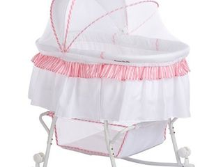 Dream On Me lacy Portable 2 in 1 Bassinet And Cradle  Pink White