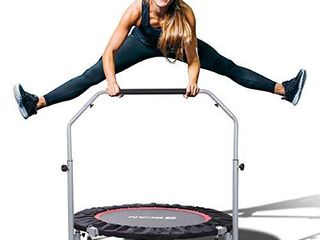 BCAN 40  Foldable Mini Trampoline  Fitness Rebounder with Adjustable Foam Handle  Exercise Trampoline for Adults Indoor Garden Workout Max load 330lbs