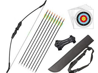 DOSTYlE Outdoor Youth Recurve Bow and Arrow Set with Quiver Junior Archery Beginner longbow for Training Includes 8 Arrows  Arm Guard  Quiver 5 Target face