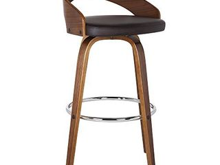 Armen living Sonia Multi Color Options Faux leather Swivel Kitchen Barstool With Walnut Wood Finish and Chrome Footrest  26  Counter Height  Brown lCSOBABRWA26