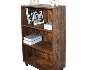 Grafzeal Mid Century Bookcase 3 Tier Bookshelf  Modern Bookcase Storage Cabinet Rack Shelf for Books Photos Decorations  in living Room Office library  Rustic Brown FBCS01X
