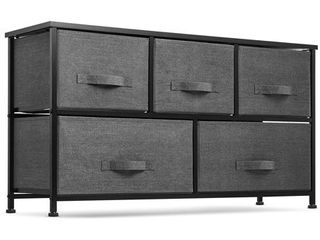 Wide 5 Drawer Dresser Storage Tower   Sturdy Steel Frame  Wood Top  Easy Pull Fabric Bins   Organizer Unit for Bedroom  Hallway  Entryway  Closets   Textured Print  Black Charcoal