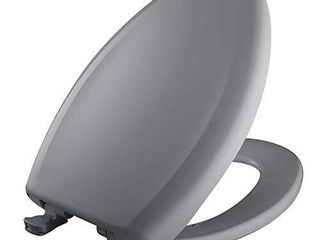 Bemis 1200SlOWT 032 Slow Sta Tite Elongated Closed Front Toilet Seat  Country Grey