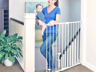 North States Tall Easy Swing and lock Stairway Gate   linen