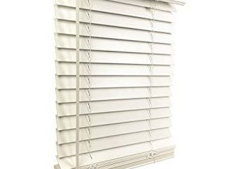 US Window And Floor 2  Faux Wood 34 125  W x 36  H  Inside Mount Cordless Blinds  34 125 x 36  White