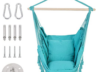 Patio Watcher Oversized Hammock Chair Hanging Rope Swing Seat with Cushion and Hardware Kit  Aqua Blue