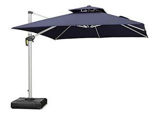 PURPlE lEAF 10ft Patio Umbrella Outdoor Square Umbrella large Cantilever Umbrella Windproof Offset Umbrella Heavy Duty Sun Umbrella for Garden Deck Pool Patio  Navy Blue