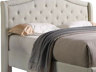 Home life BED00013 High Tufted Headboard  53   linen  Beige  King   Headboard Only