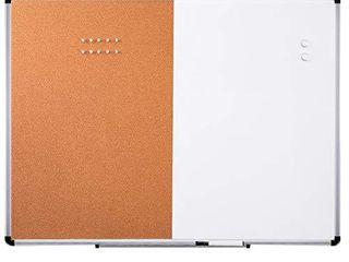 Amazon Basics Combo Magnetic Whiteboard Dry Erase Board Cork Board 36  x 48