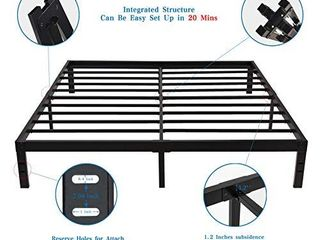 Homdock 14 Inch Metal Platform Bed Frame Sturdy Strong Steel Structure 3500 lbs Heavy Duty Noise Free None Slip Mattress Foundation No Box Spring Needed Black Finish  Queen