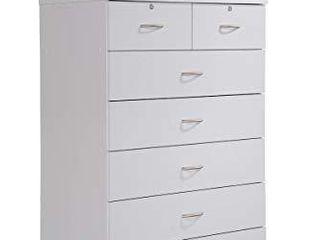Hodedah HI70DR White Chest of Drawers with locks