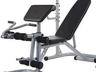 Sporzon Multifunctional Workout Station Adjustable Olympic Workout Bench  leg Extension  Preacher Curl  and Weight Storage  800 Pound Capacity  Gray