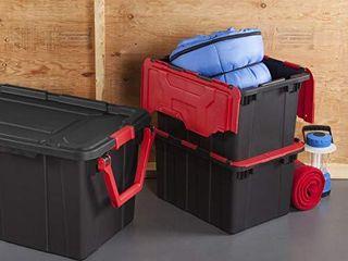 Sterilite 14619006 12 Gallon 45 liter Hinged lid Industrial Tote  Racer Red lid w  Black Base  4 Pack