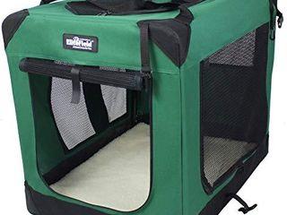 EliteField 3 Door Folding Soft Dog Crate  Indoor   Outdoor Pet Home   42  l x 28  W x 32  H  Green