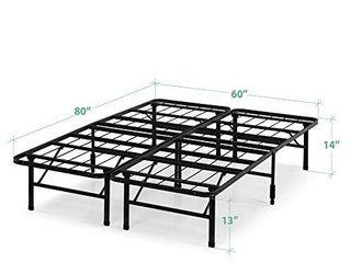 ZINUS Smart Base Zero Assembly Mattress Foundation   14 Inch Metal Platform Bed Frame   No Box Spring Needed   Sturdy Steel Frame   Underbed Storage  Queen