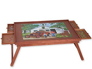Bits and Pieces   Jumbo 1500 pc Wooden Puzzle Plateau lounger w  4 Storage Drawers   Folding Jigsaw Puzzle Table