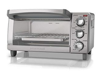 BlACK DECKER 4 Slice Toaster Oven with Natural Convection  Stainless Steel  TO1760SS