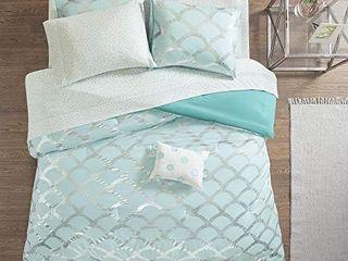 Intelligent Design lorna Complete Bag Trendy Metallic Mermaid Scale Scallop Print Comforter with Polka Dots Sheet Set  Teen Bedding for Girls Bedroom  Queen  Aqua