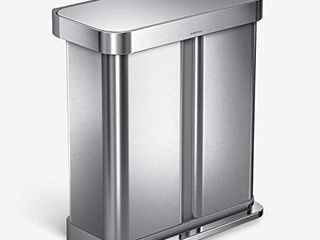 simplehuman 58 liter Rectangular Hands Free Dual Compartment Recycling Kitchen Step Trash Can with Soft Close lid  Brushed Stainless Steel  FOOT PART DOES NOT WORK