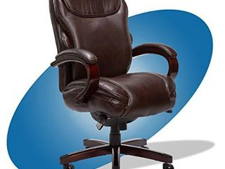 la Z Boy Hyland Executive Office Chair with AIR Technology  Adjustable High Back Ergonomic lumbar Support  Bonded leather  Brown with Mahogany Wood Finish