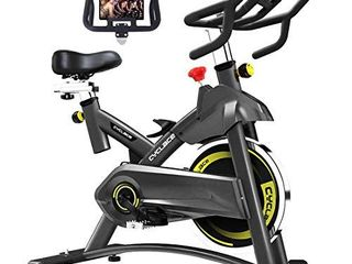 Cyclace Exercise Bike Stationary 330 lbs Weight Capacity  Indoor Cycling Bike with Comfortable Seat Cushion  Tablet Holder and lCD Monitor
