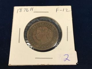 1876 H Canadian Large one cent piece