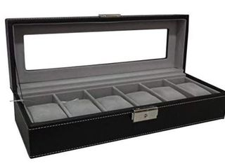 Black leather Watch Box   Holds 6 Watches