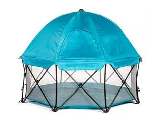Regalo My Play Deluxe Extra large 8 Panel Portable Play Yard   Indoor Outdoor   Bonus Kit   Carry Case   Full Canopy   Teal