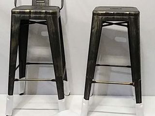 Set of 2   low Back Counter Stools   Gunmetal Finish  30  Seat Height