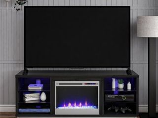 Ameriwood Home lumina Fireplace TV Stand for TVs up to 70  Wide Black Oak