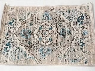 Beautifully Designed Distressed Cream Small Area Rug 2  x 3    from Persian Area Rugs