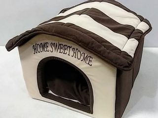 Best Pet Supplies Home Sweet Home Bed   Beige w  Brown Stripes