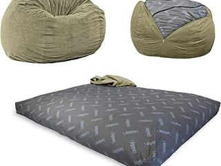 CordaRoy s Chenille Bean Bag Chair   Convertible Chair Folds from Bean Bag to Bed   Queen Size   Color  Moss