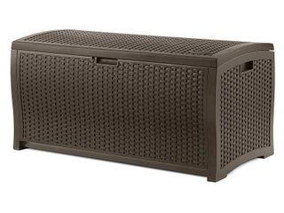 Deck Box   Resin Wicker   99 Gallon   Brown by Suncast