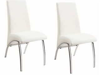 Dining Chairs White and Chrome  Set of 2