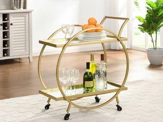 FirsTime   Co  Gold Odessa Bar Cart