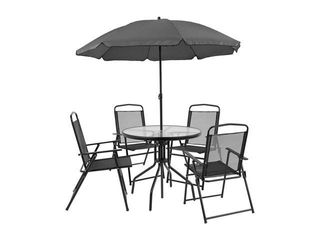 Flash Furniture Nantucket 6 Piece Patio Garden Set with Table  Umbrella and 4 Folding Chairs