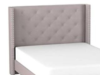 Home life Premiere Classics Cloth light Grey Silver linen   51  Tall Headboard   Queen Size