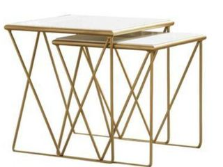 Modern Marble and Gold Nesting Tables  20  W x 20  H x 18  D     18  W x 18  H x 16  D