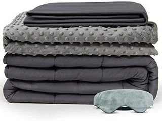 BUZIO Weighted Blanket 4 Piece Set with 2 Removable Duvet Covers   1 Weighted Sleep Mask 15lbs 60x8p Inch