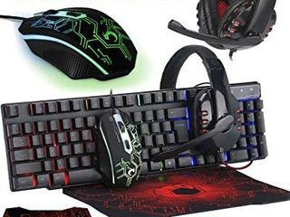 Gaming Keyboard and Mouse and Mouse pad and Gaming Headset  Wired lED RGB Backlight Bundle