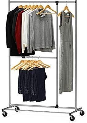 Simple Houseware Dual Bar Adjustable Garment Rack Chrome 72 inch Height