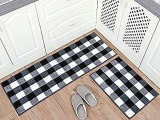 Carvapet 2 Pieces Buffalo Plaid Check Rug Set Water Absorb Microfiber Non Slip Kitchen Rug Bathroom Mat Checkered Doormat Carpet for laundry 17 x48 17 x24  Black and White