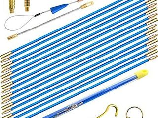 50  Fiberglass Cable Wire Running Rod Coaxial Electrical Connectable Fish Tape Pull Kit With Hook And Hole Kit In Transparent Tube  Blue