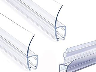 1 4  Frameless Glass Shower Door Bottom Seal  Weather Stripping Seal Sweep with Drip Rail for 1 4 Inch 6mm  Glass  39 long J  2PCS x 39  long H Type  H J Type