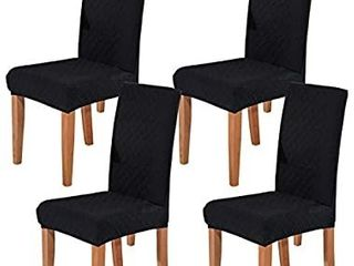 Ogrmar 4PCS Stretch Removable Washable Dining Room Chair Protector Slipcovers Home Decor Dining Room Seat Cover  Black
